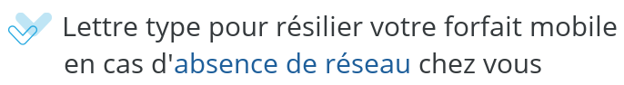 modele lettre resiliation mobile absence reseau